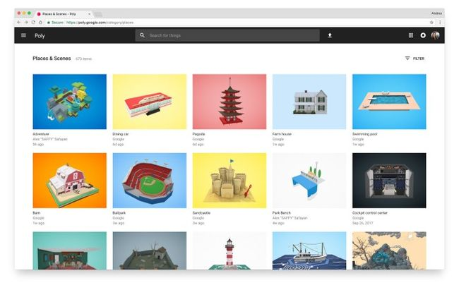 Google Poly - новая платформа для загрузки 3D-объектов и сцен